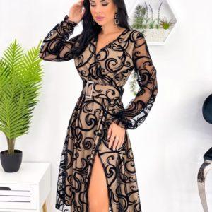 Замовити чорного кольору жіноче плаття на запах з напиленням (розмір 42-52) в інтернеті