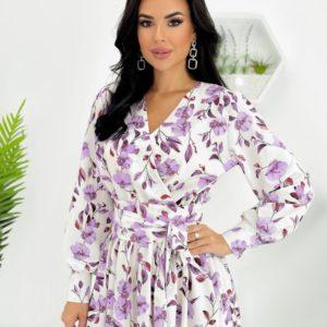 Замовити біле жіноче в Україні плаття міді з принтом на запах (розмір 42-48)