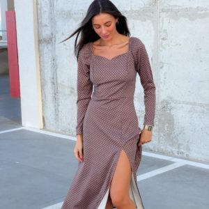 Приобрести женское марсал принтованное платье с разрезом (размер 42-52) онлайн