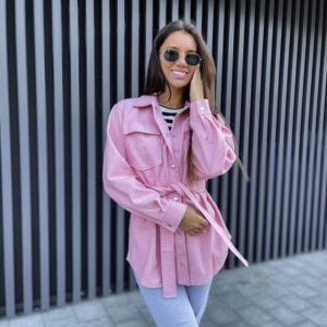 Заказать пудра женскую рубашку из кашемира с поясом онлайн