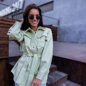 Купить женскую рубашку из кашемира с поясом по скидке цвета фисташка