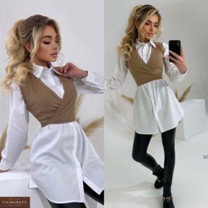 Заказать бежевое женское платье-рубашка с жилеткой онлайн