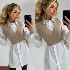 Приобрести по скидке женское платье-рубашка с жилеткой белое