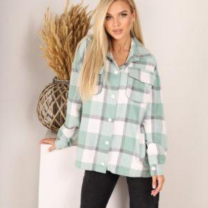 Купить женскую оливка шерстяную рубашку в клетку (размер 42-52) дешево