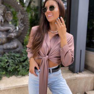 Купить цвета мокко женскую шелковую рубашку с завязкой недорого