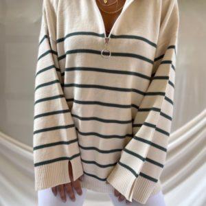 Купить по скидке бежевый, серый женский свитер в полоску с широкими рукавами