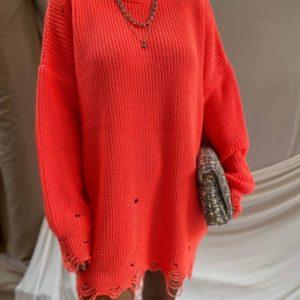 Купити зі знижкою жіночий светр-туніка з дірками неоновий