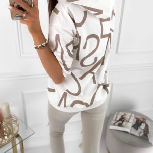 Замовити біле жіноче худі з трикотажу з буквами онлайн