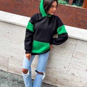 Замовити жіноче двокольорове худі з капюшоном чорно-зелене вигідно