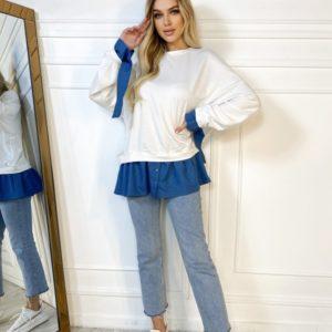 Купити вигідно біле комбіноване худі оверсайз для жінок