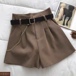Купить бежевые женские шорты с защипами недорого
