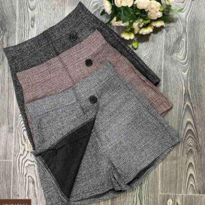 Купить онлайн серую, черную юбку-шорты из твида с пуговицами для женщин