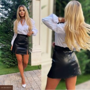 Заказать черную женскую юбку из экокожи с разрезами (размер 42-48) в Украине