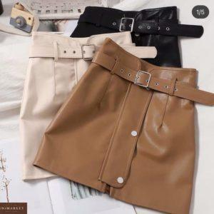 Заказать черный, беж, кэмел кожаную юбку с поясом для женщин онлайн