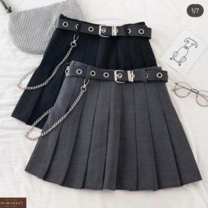 Купить выгодно черную, серую юбку гофре с поясом для женщин
