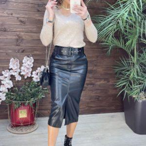Купить черную женскую юбку миди из эко кожи по скидке