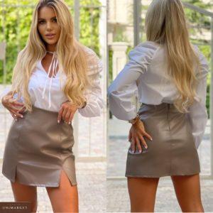 Купить бежевую женскую юбку из экокожи с разрезами (размер 42-48) онлайн