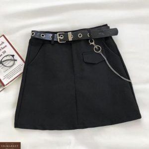 Купить черную женскую классическую юбку мини онлайн