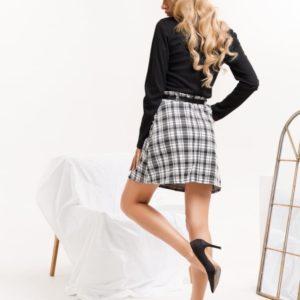 Заказать черно-белую юбку мини в клетку в интернете женскую