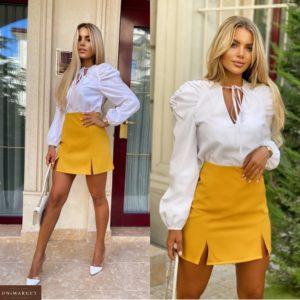 Купить горчичную женскую мини юбку с разрезами (размер 42-48) онлайн