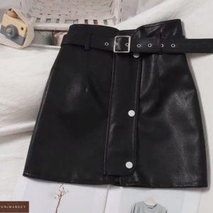 Купить выгодно черную кожаную юбку с поясом для женщин