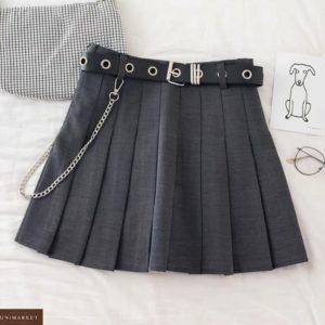 Заказать онлайн серую женскую юбку гофре с поясом