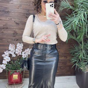Заказать выгодно черную юбку миди из эко кожи дешево