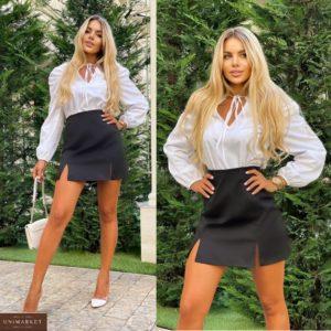Купить женскую черную мини юбку с разрезами (размер 42-48) онлайн