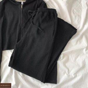 Купить черный женский костюм трикотажный на змейке онлайн
