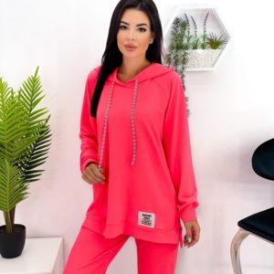 Купить розовый женский спортивный костюм оверсайз (размер 42-52) в Украине