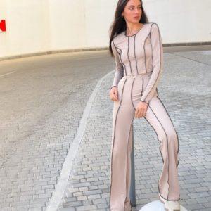Купить по скидке женский костюм с контрастными швами (размер 42-52) бежевый