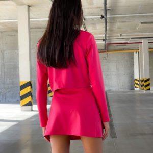 Заказать дешево розовый женский костюм с юбкой из трикотажа