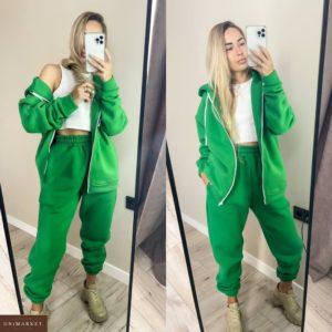 Купити зелений жіночий спортивний костюм на змійці з начосом (розмір 42-48) за низькими цінами
