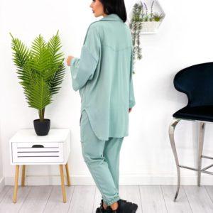 Приобрести выгодно оливковый трикотажный костюм с рубашкой (размер 42-48) для женщин