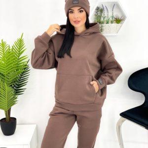 Замовити кавового кольору жіночий теплий спортивний костюм з шапкою (розмір 42-52) дешево