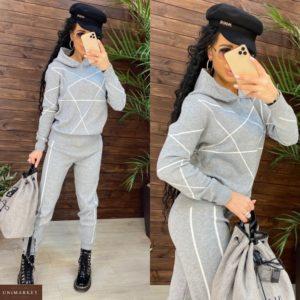 Приобрести серый женский костюм машинной вязки с полосками онлайн