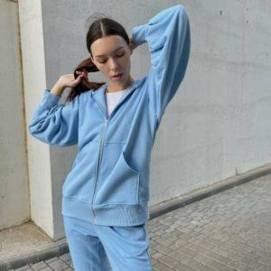 Заказать онлайн голубой спортивный костюм с кофтой на змейке (размер 42-48) для женщин