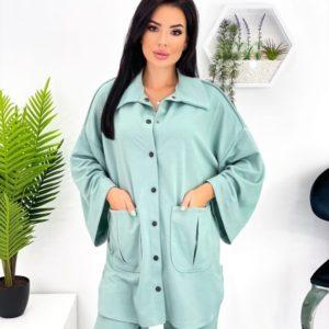 Купить недорого оливковый трикотажный костюм с рубашкой (размер 42-48) для женщин