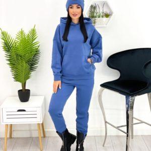 Купити онлайн синього кольору жіночий теплий спортивний костюм з шапкою (розмір 42-52)