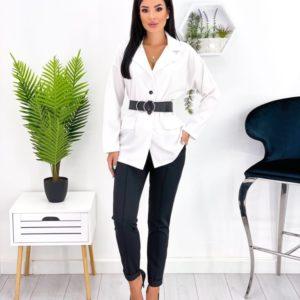 Замовити в інтернеті білий брючний костюм з піджаком (розмір 42-52) для жінок