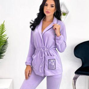 Купит онлайн лиловый женский прогулочный костюм с затяжкой (размер 42-52)