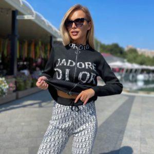 Заказать черно-белый женский костюм мелкой вязки Dior на змейке в интернете