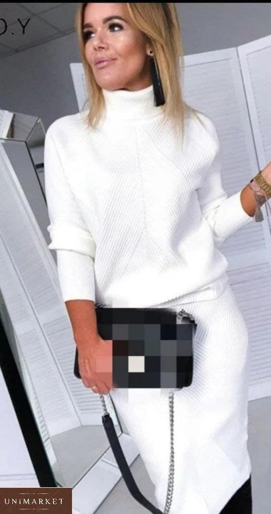 Заказать белый женский кашемировый костюм с юбкой и свитером по скидке