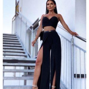 Заказать выгодно черный костюм: топ + брюки с разрезами женский