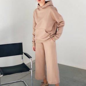 Замовити пудра по знижці спортивний костюм на флісі з кюлотамі (розмір 42-48) для жінок