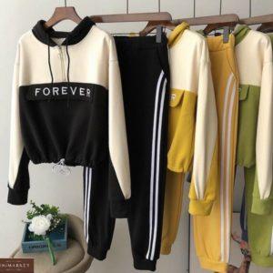 Купить черный женский спортивный костюм Forever с капюшоном выгодно