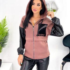 Заказать онлайн женский кофейный костюм на флисе с кожаными вставками (размер 42-52)