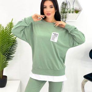 Замовити вигідно жіночий костюм зі світшотом і лампасами (розмір 42-52) оливковий