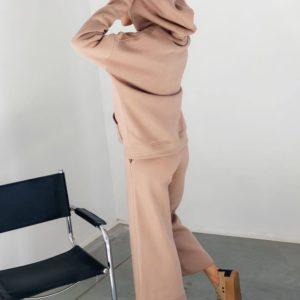 Купити недорого жіночий спортивний костюм на флісі з кюлотамі (розмір 42-48) пудра