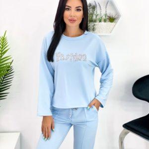 Замовити блакитний жіночий спортивний костюм Fashion (розмір 42-52) вигідно